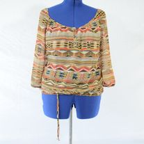 Speechless Tribal Print Sheer Blouse