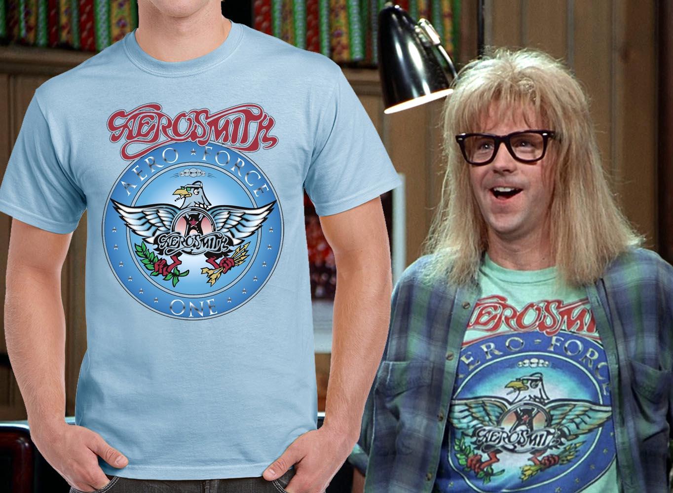 Wayne's World Garth Halloween Costume Shirt Aerosmith Light Blue T ...