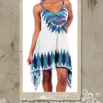 Ethnic Print Beaded Dress