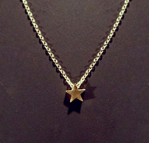 Tiny star necklace on delicate 15 gold chain small for Minimal art jewelry