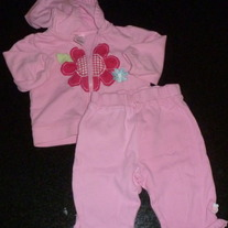 Pink Zip Hoodie with Pink Flower and Matching Pants-Just One Year by Carter's Size 6 Months  CLM1