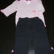 Pink/White/Black Stripe Onesie with Matching Pants/Heart on Bottom-Baby by bon bebe Size 6-9 Months  CLM1
