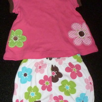 Pink Short Sleeve Shirt with 2 Flowers and Matching Shorts-Child of Mine by Carters Size 3-6 Months  CLM1