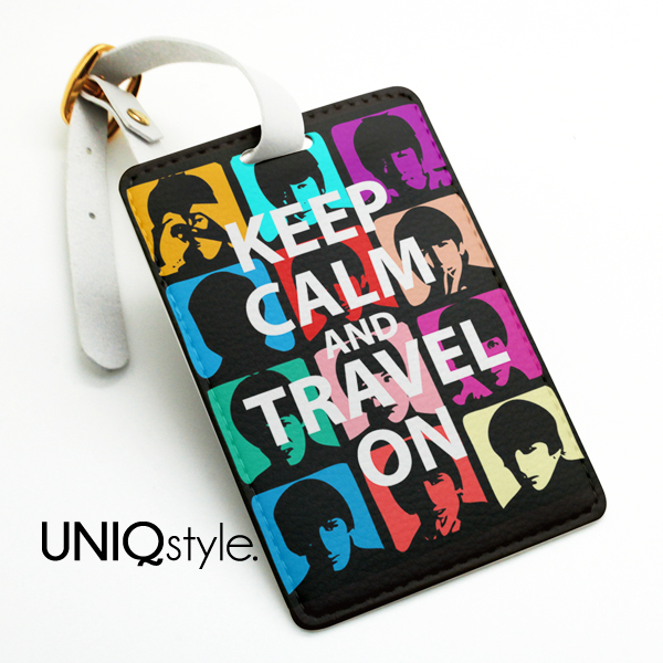 pop art style the beatles travel tag keep calm and travel on luggage tag