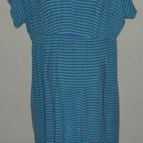 Purple/Teal Striped Gown-Caberney Sleepwear Size Medium