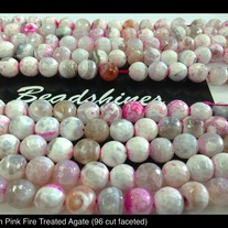 Pink Fire Treated Agate 10mm