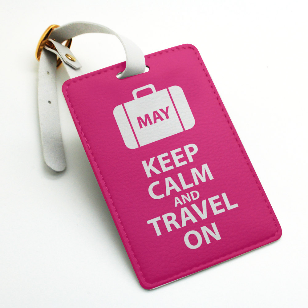 Personalized custom name tag, keep calm and travel on, name tag ...