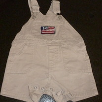Khaki Short Overalls with American Flag-Baby Gap Size 6-12 Months