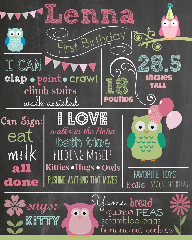Custom First Birthday Colored Chalkboard Poster Invitation