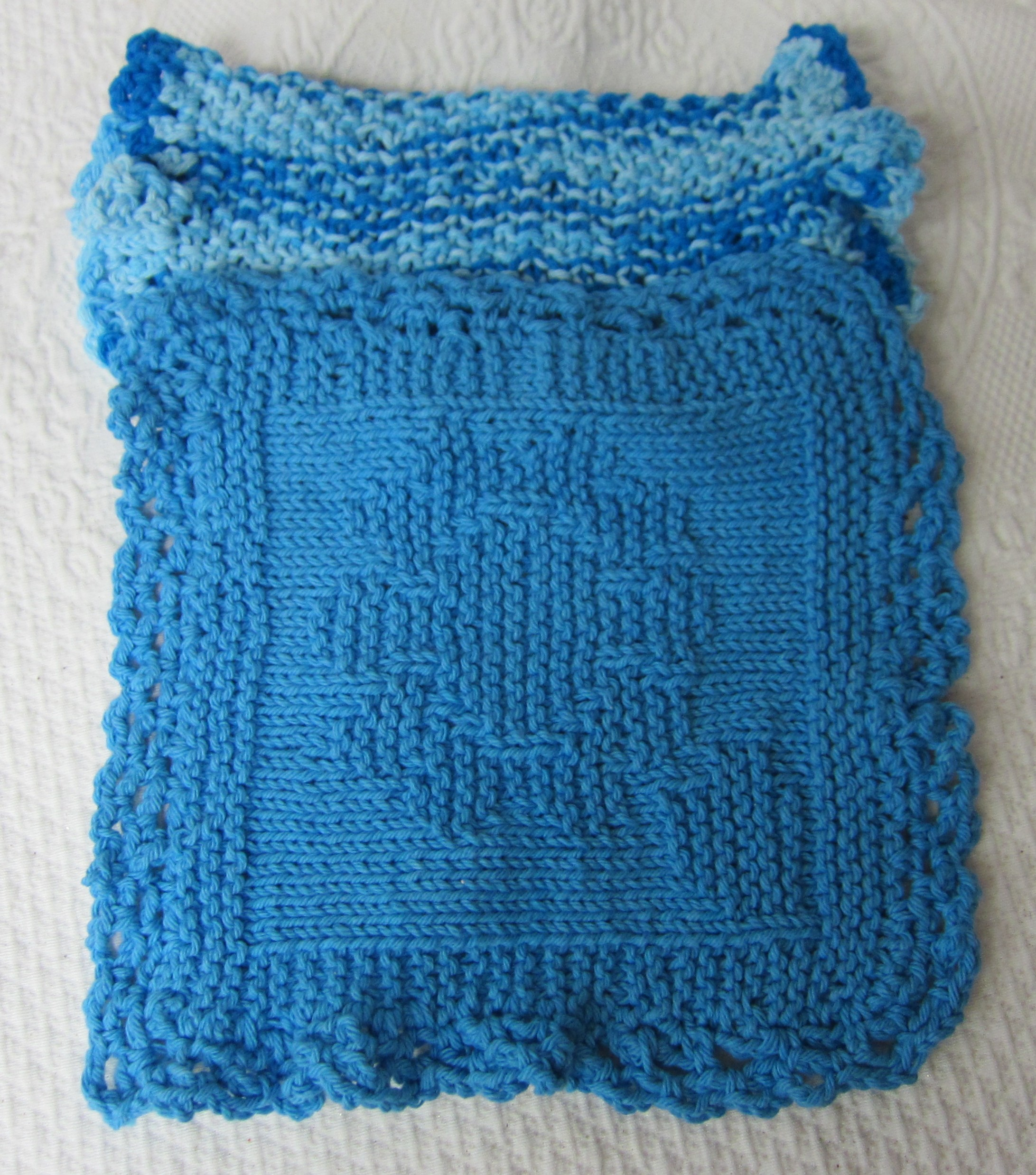 Knit Dishcloth/Washcloth/Dish Rag/Wash Rag Set of two Made with 100 ...
