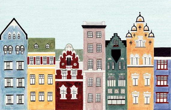 Scandinavian Architecture, Helsinki, Finland, Illustration Fine Art Print  Of Colorful Buildings And Row