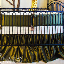 Olive Green Taffeta Crib Bedding Set
