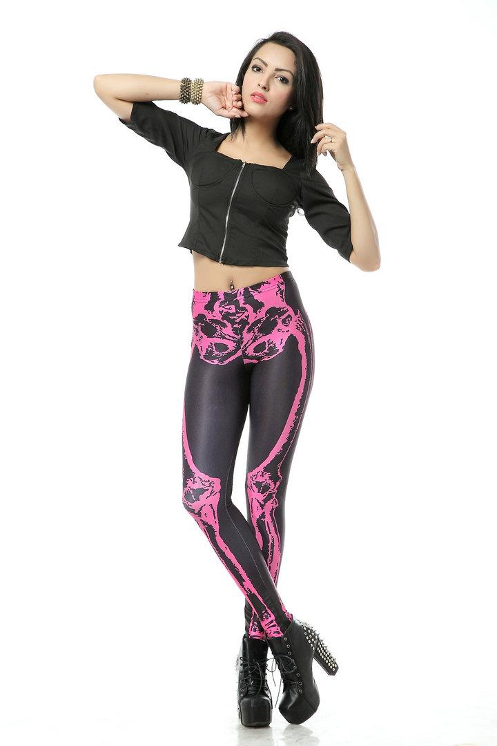 pink and black skeleton leggingsskeleton tightsskeleton pantshalloween leggingshalloween - Halloween Tights For Women