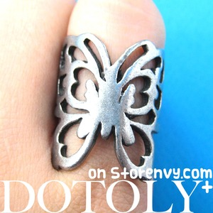 Butterfly Wrap Animal Ring with Cut Out Details - Size 6.5 ONLY