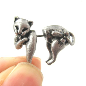 3D Fake Gauge Kitty Cat Cute Animal Plug Stud Earrings in Silver