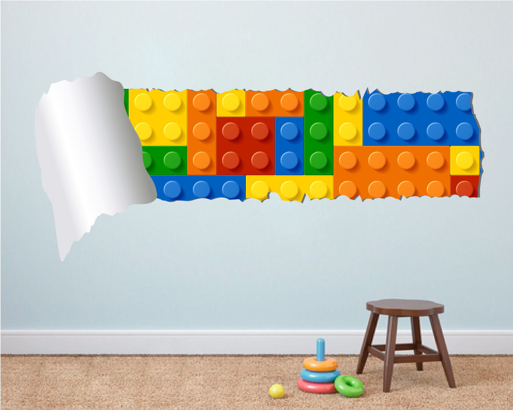 Ordinaire Lego Effect Style Torn Wall Sticker Not Associated With Lego Brand