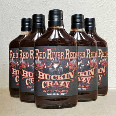 Case (12 bottles) of red river red's buckin crazy bbq sauce