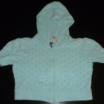 Light Blue W/Polka Dot Zip Up Short Sleeve Hoodie-Limited Too Size 8