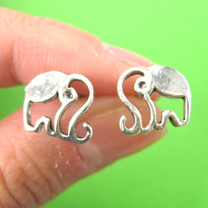 Elephant Cut Out Animal Stud Earrings in Sterling Silver