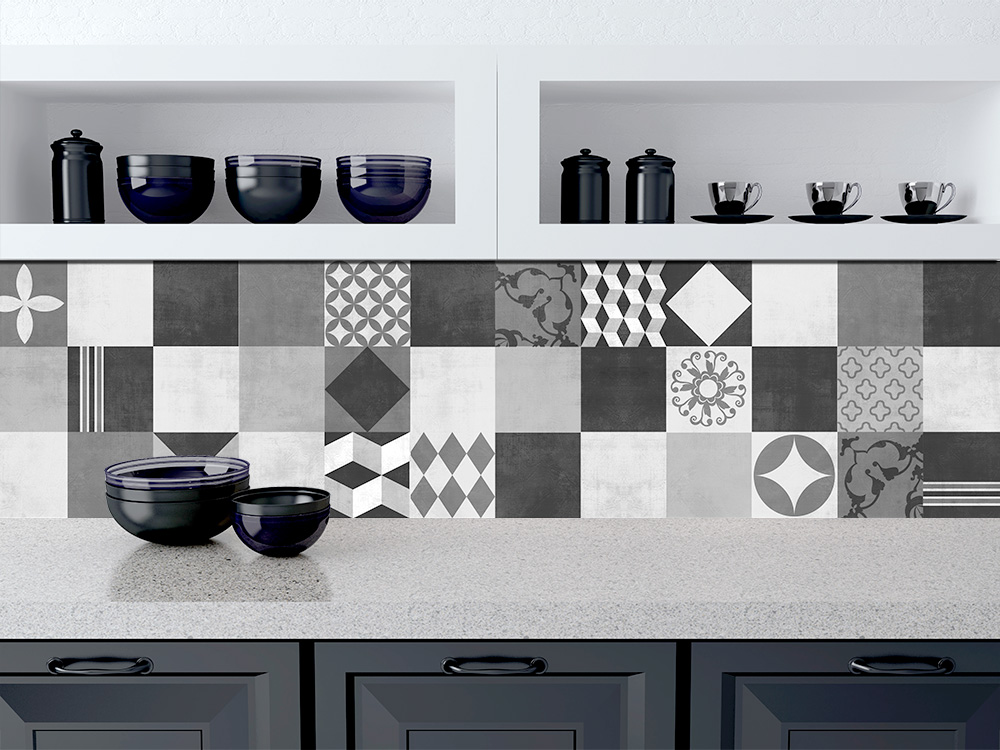 Geometric Graphite Tile Stickers   Kitchen Backsplash Tiles   Bathroom Tile  Decals   Pack Of 48