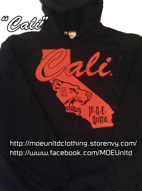 M O E Unltd Clothing Cali Adult Hoodie Black Red 2xl