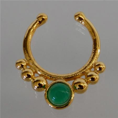 Unique gold plated septum for non pierced nose septum jewelry indian nose ring ethnic - Decorative septum jewelry ...