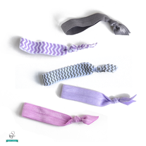 Purple N' Gray Hair Ties - Set of 5