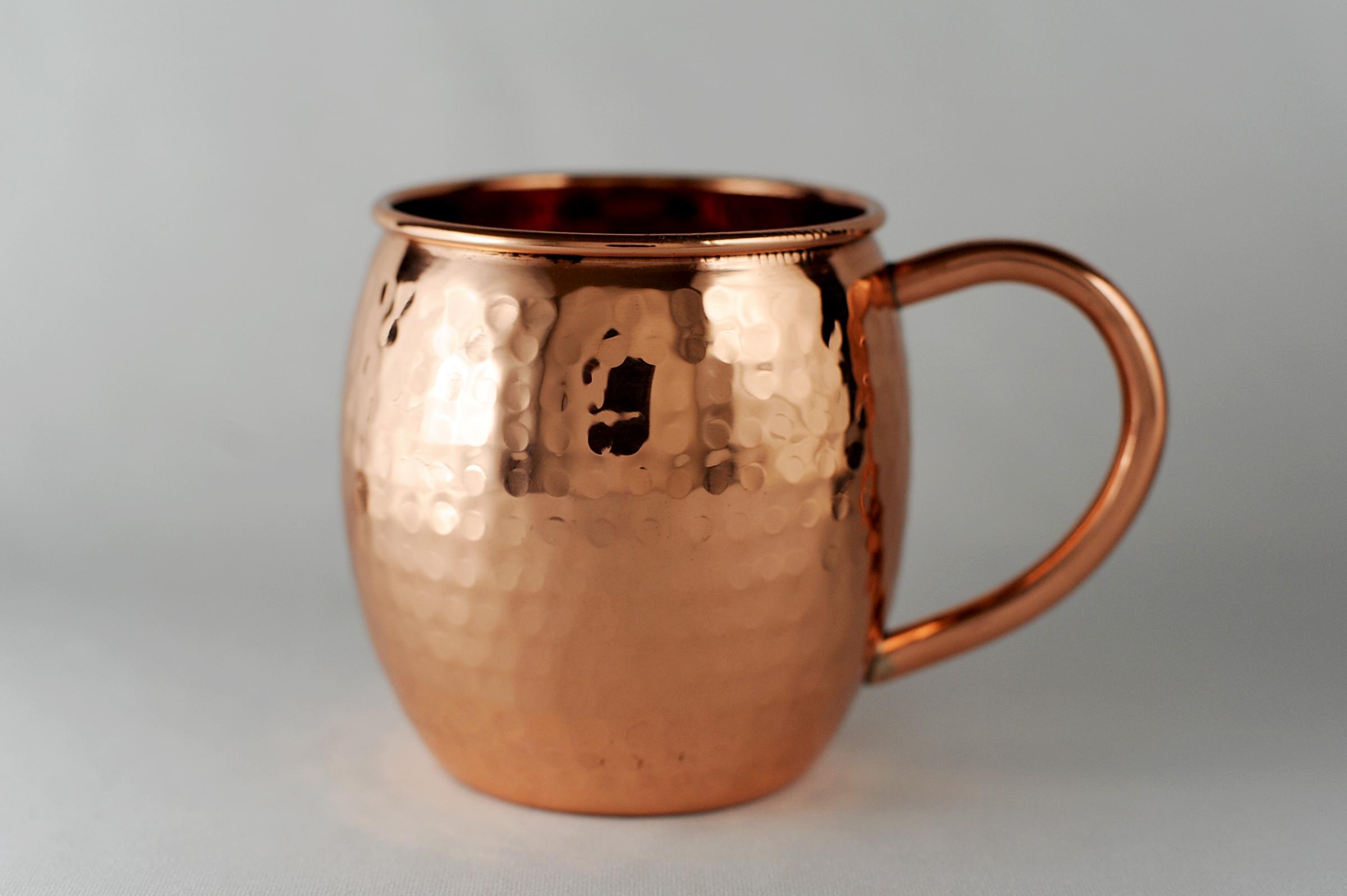 16 Oz Barrel Shaped Hammered Copper Moscow Mule Mug On