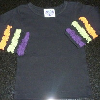 Black Long Sleeve Shirt with Multi Color Ruffles on Sleeve-Young Colors Size 9 Months