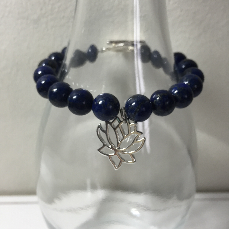 Blue Lapis Lazuli Beaded Chakra Bracelet With Sterling Silver Lotus