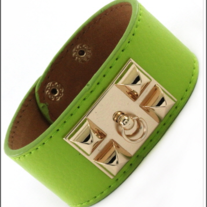 Leather Door Knocker Bracelet Olive Green