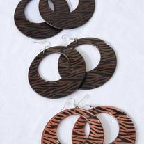 Zebra Print Dangle Earrings Brown