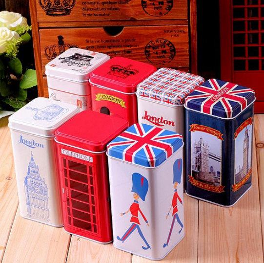 Set Of 7 Retro Vintage London Style Tea Tin Box Christmas Gift Home