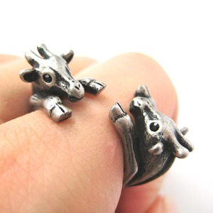Miniature Baby Double Giraffe Ring in Silver Sizes 5 to 9 available