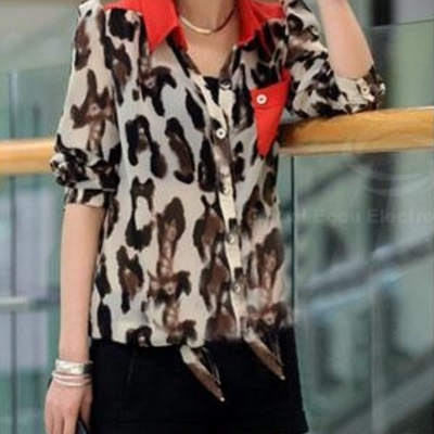 Leopard print red long-sleeve