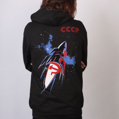 CCCP Space Race Soviet Propaganda Black Zip Hoodie by Allriot.