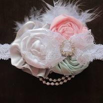 Pink, Mint, and Silver feather headband