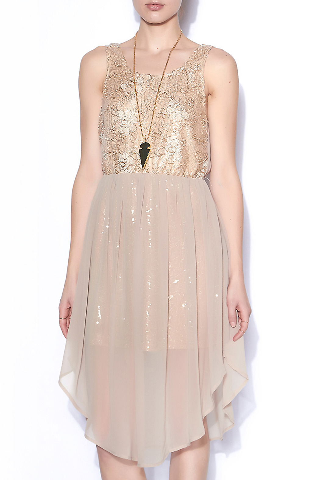 Champagne Sequin & Embroidered Dress with Chiffon Overlay Belle ...