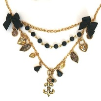 black stone gold chain fleur de lis leaf locket strawberry charm layered necklace