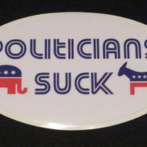 """Politicians Suck"" 5x3 sticker"