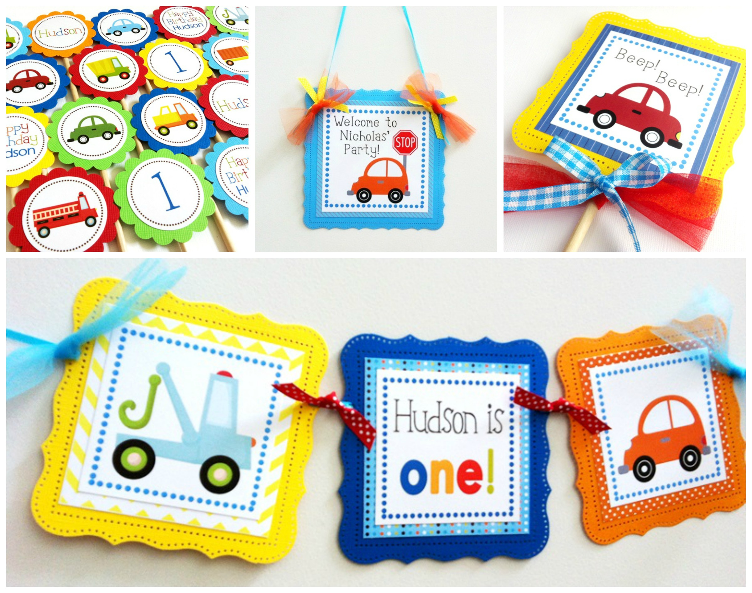 Truck And Car Banner For Boys Birthday Party