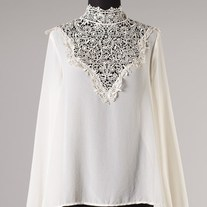 Ivory White Creme L/S Sheer Chiffon Top Crochet Lace Neckline Open Back Tie SML