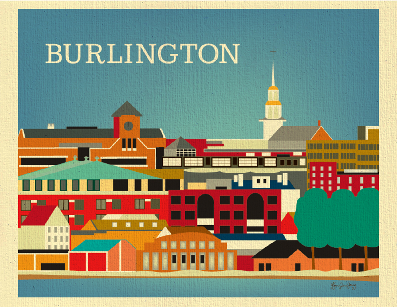 burlington vt skyline poster print american city wall