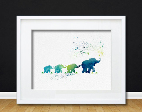 Watercolor Art Mother With Baby Elephants Gift Modern 8x10