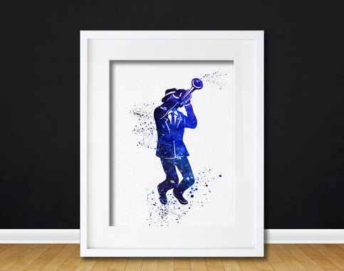 Watercolor Art Print Trumpet Jazz Player Modern 8x10 Wall