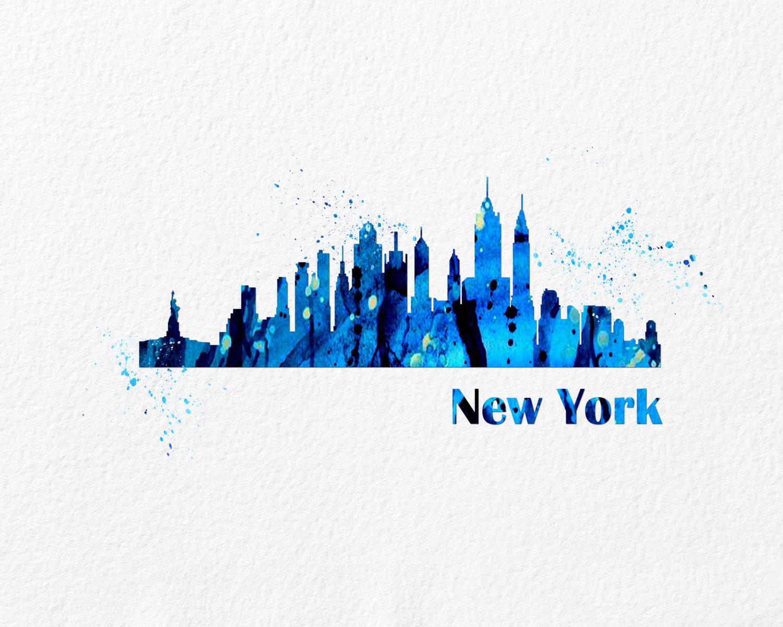 ... Watercolor Art Cityscape New York Gift Modern 8x10 Wall Art Decor  Cityscape New York Wall Hanging