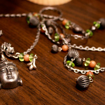 Buddha and Chrysanthemum Branch Necklace