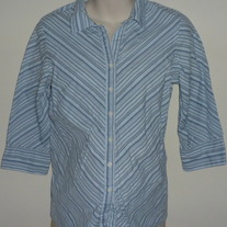 Blue Striped Shirt with Buttons/Collar-Oh!Mamma Size Medium