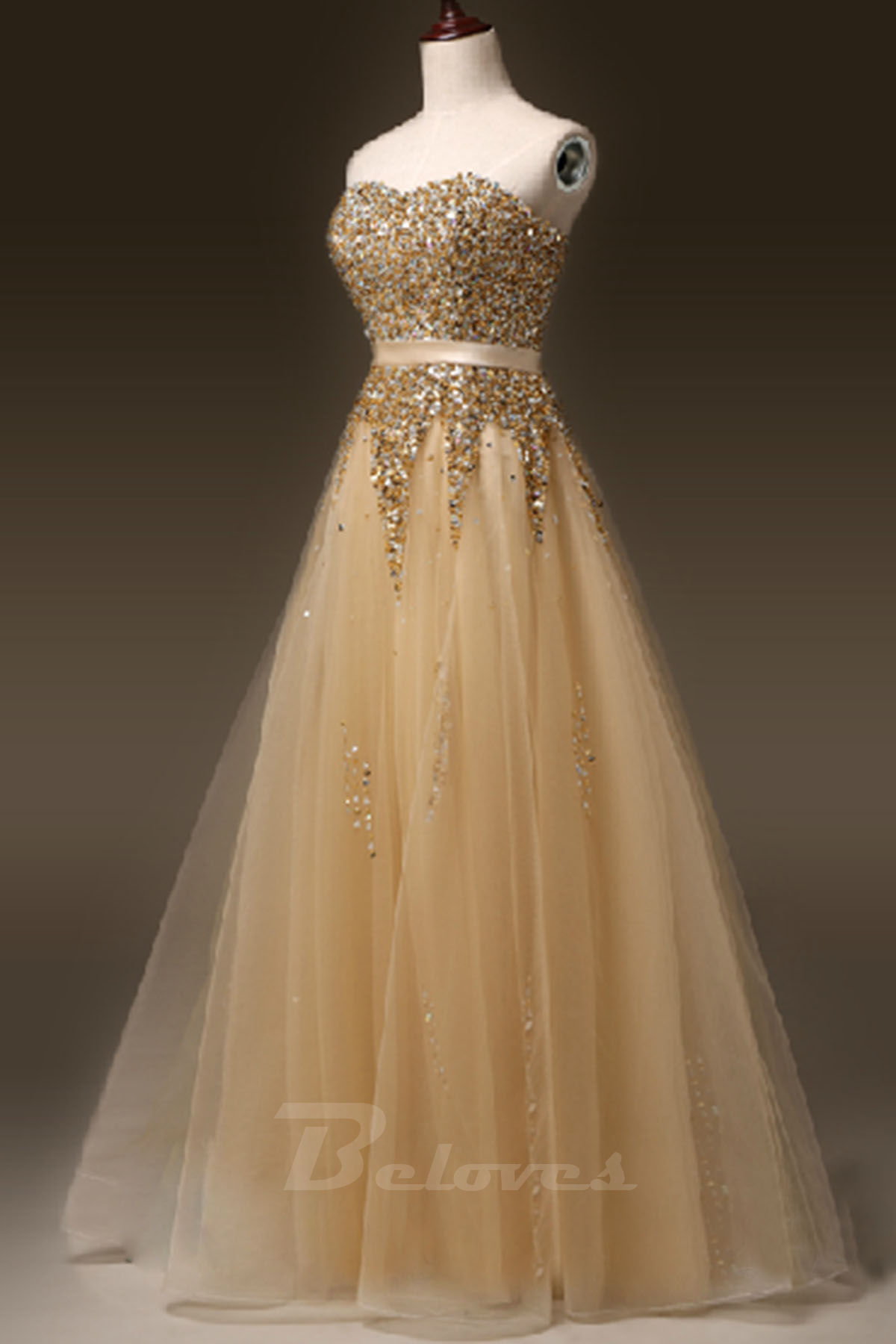 gold tulle sweetheart beaded a line formal prom dress