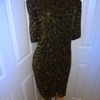 Black and Gold Vintage Plus Size Sequins Dress Size 20!!